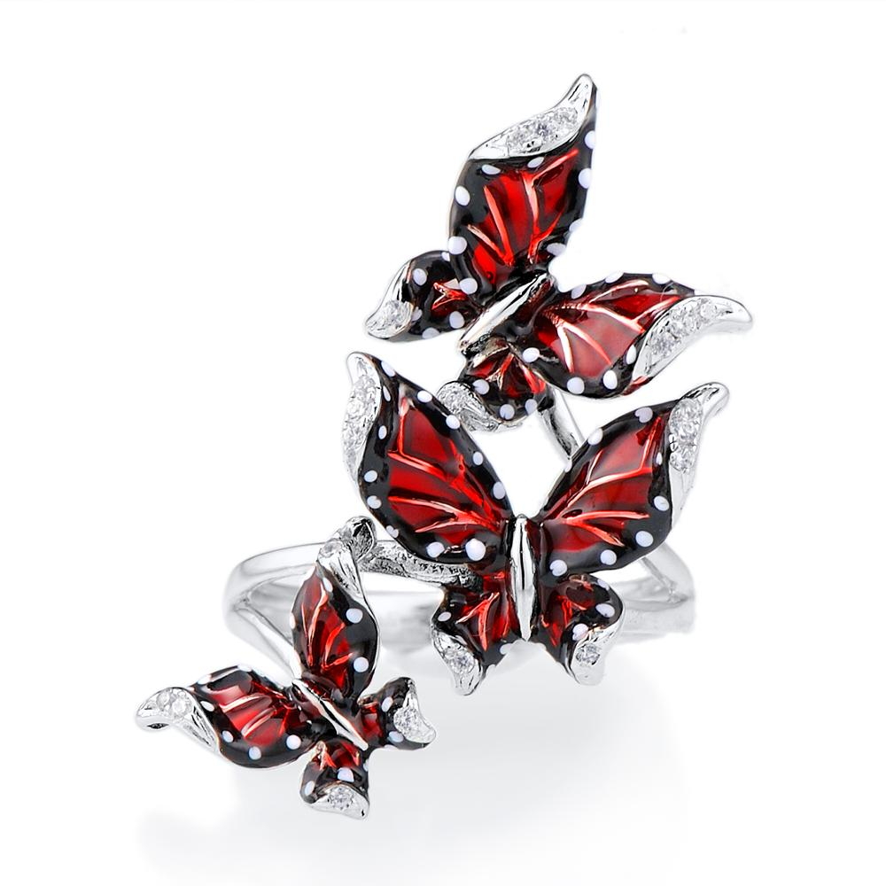 Image 2 - SANTUZZA Silver Ring For Women Genuine 100% 925 Sterling Silver Red Butterflies кольцо Trendy Fashion Jewelry Handmade Enamel-in Rings from Jewelry & Accessories