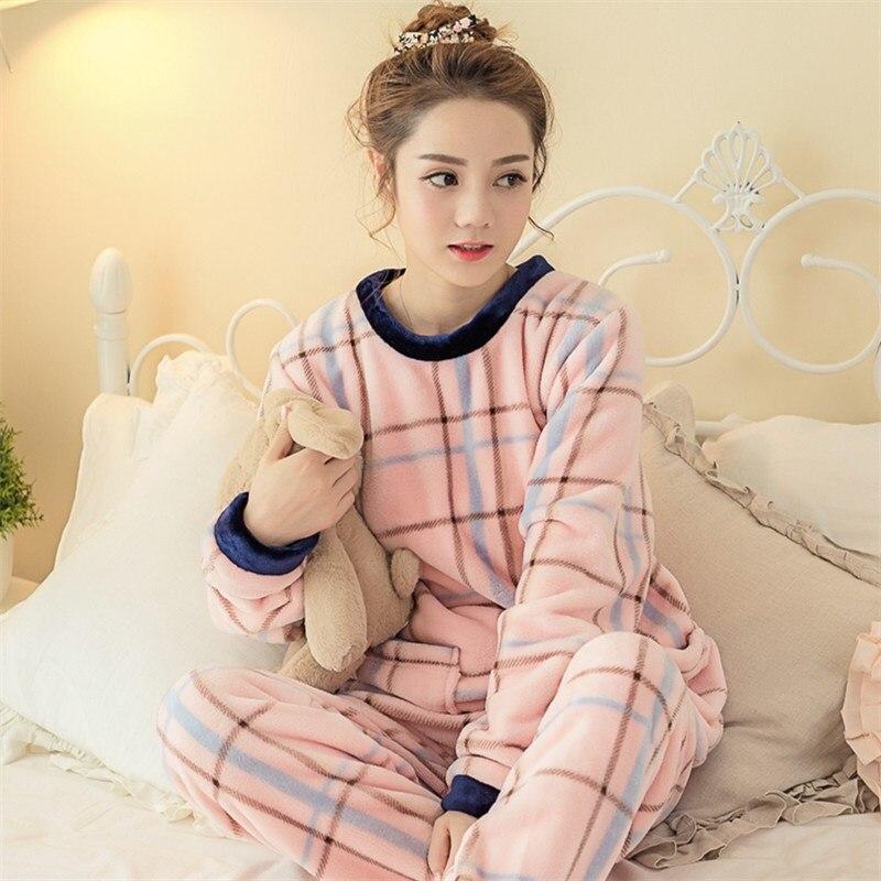 Women Winter Sweet Thicken Flannel   Pajamas     Set   Cartoon Pyjamas Women's   Pajamas     Sets   Female Sleepwear Suit