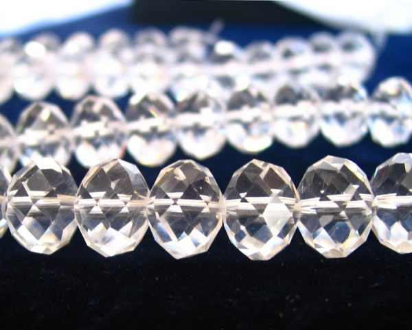"18"" 6mm Cristal Clear designer glass large rondelle Beads faceted crystal"