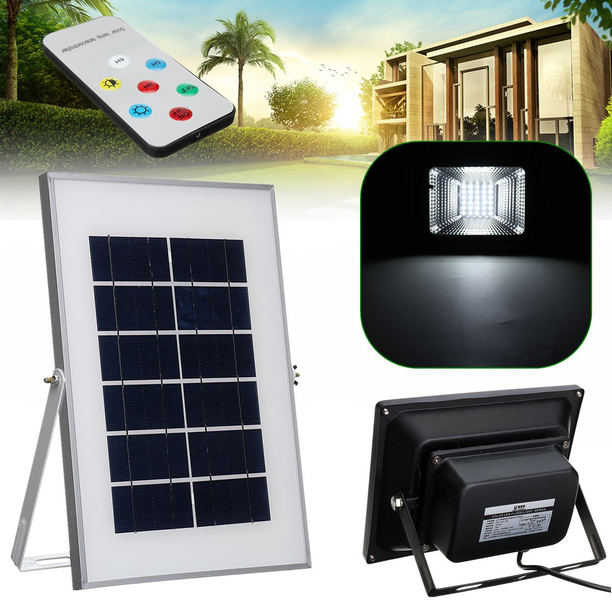 Remote Control Outdoor Garden Lawn Lighting Lamp 30 LED Solar Power Flood Light Reusable & Super Bright  Intelligent SunlightRemote Control Outdoor Garden Lawn Lighting Lamp 30 LED Solar Power Flood Light Reusable & Super Bright  Intelligent Sunlight