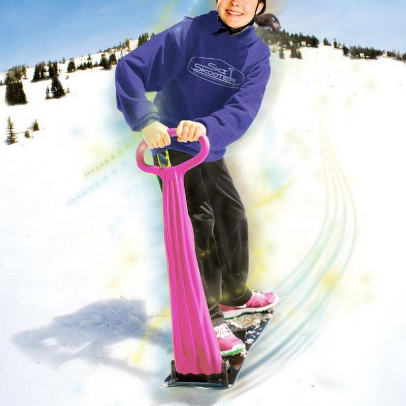 En plein air Ski Snowboard Placage Pliage Scooter Pour Adultes Enfants Traîneau De Neige Grip Poignée Hiver Jouant Équipement De Déneigement
