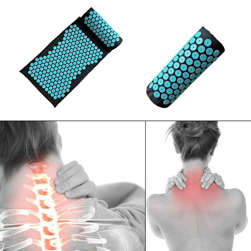 Tapete de Yoga Almofada da Esteira de Massagem acupuntura Travesseiro Tapete de Yoga Tensão Muscular Do Corpo Pico Pad Almofada de Massagem com Travesseiro
