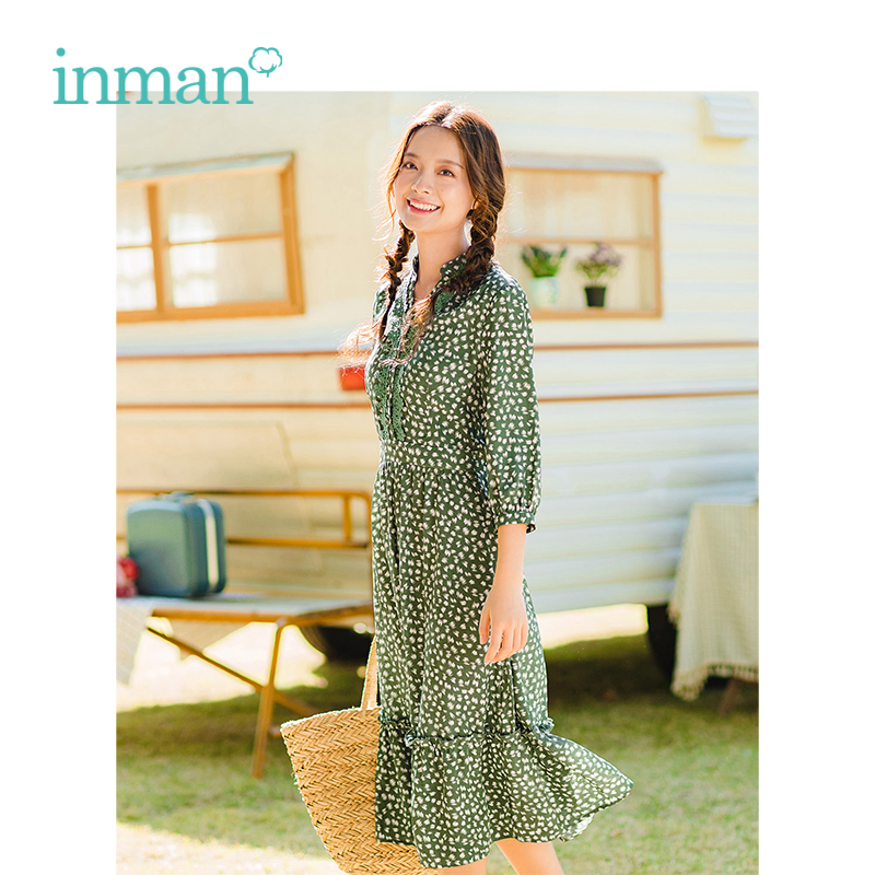 INMAN Spring New Arrival V-neck Literary Retro Floral Casual Defined Waist Slim Women Long A-line Dress