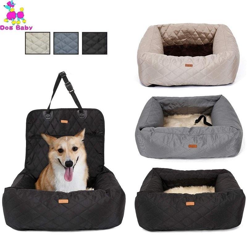2 In 1 Pet köpek taşıyıcı katlanır araba koltuk pedi güvenli taşıma evi köpek çanta araba seyahat aksesuarları su geçirmez köpek koltuğu çantası sepeti