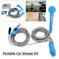 12v Travel Portable Camping shower with cable pump hose shower head on/off switch Shower Spray Head Pet Caravan Car