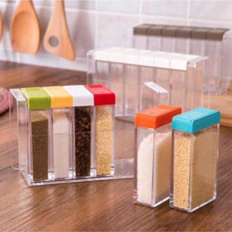 1PCS Spice Jar Seasoning Box 6Pcs Set Kitchen Spice Storage Bottle Jars Transparent PP Salt Pepper Cumin Powder Box Kitchen Tool in Salt Pigs Cellars Servers from Home Garden