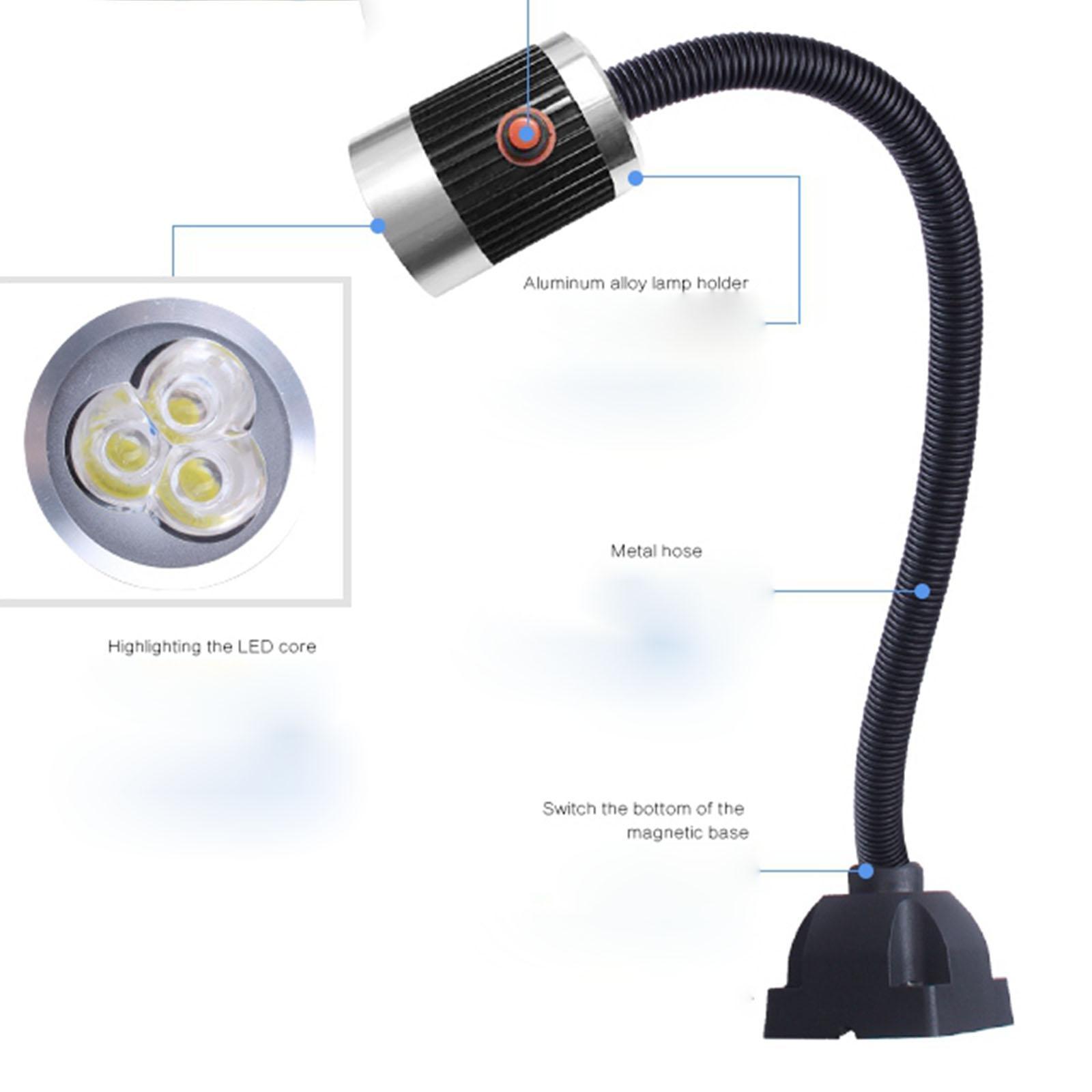 24V/220V 4.5W/6/9W Work Lamp LED CNC Milling Lathe Tool Light Screw Fix Aluminum Alloy And Metal Hose