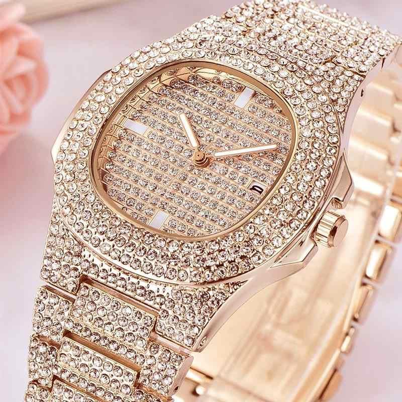 Femmes montre Quartz dames or mode montres diamant acier inoxydable femmes montre-bracelet filles femme horloge heures calendrier