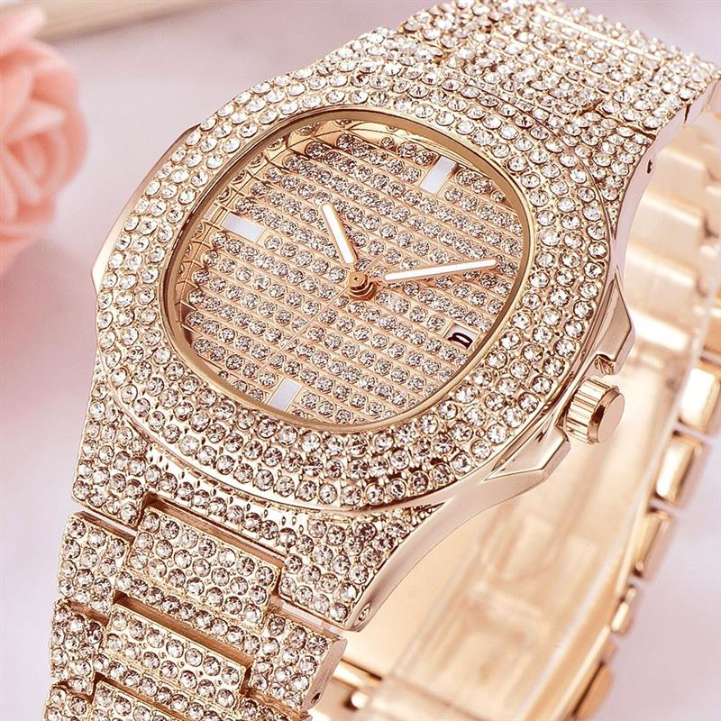Women Watch Quartz Ladies Gold Fashion Wrist Watches Diamond Stainless Steel Women Wristwatch Girls Female Clock Hours Calendar