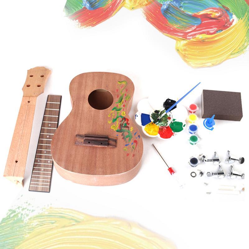 Kit de bricolage ukulélé acajou 23 pouces Concert Hawaii guitare travail manuel Ukelele avec touche en palissandre et tête de Machine fermée