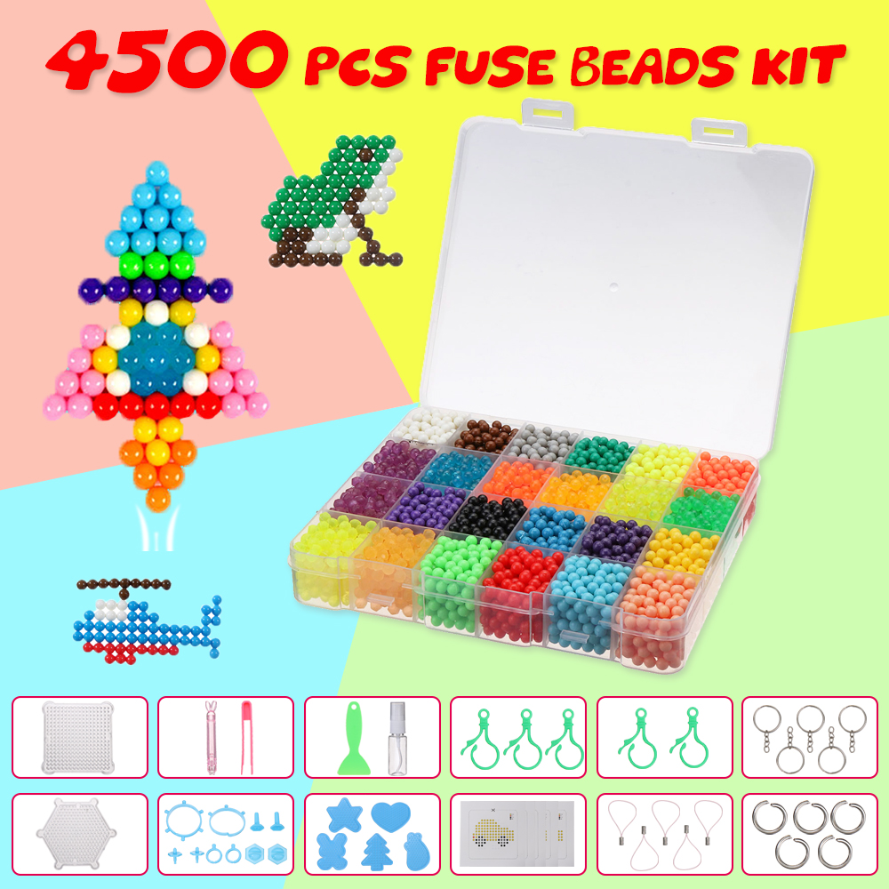 4500PCs 24 Colors Water Fuse Beads Kit Magic Water Sticky Perler Beados Pegboard Set Puzzle Education Toys Kids Good Gifts