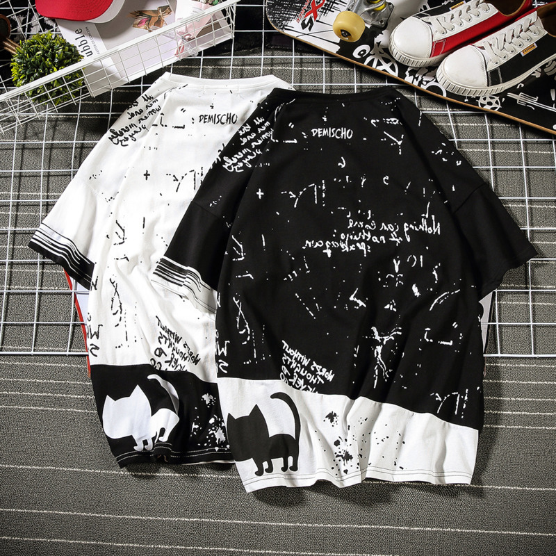 2019 New Korean Version Of The Tide Male Harajuku Quality Street Men Loose Animal Graffiti Large Size Casual Cute Shirt-in T-Shirts from Men's Clothing on Aliexpress.com | Alibaba Group 1