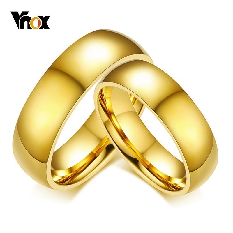 Vnox Wedding-Rings Plain-Bands Anniversary Gold-Tone Stainless-Steel Women Simple Classic