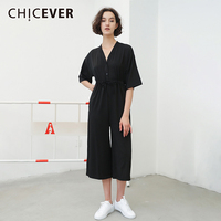 CHICEVER Summer Lace Up Black Jumpsuit For Women Wide Leg Pants V Neck Casual Loose Ankle Length Jumpsuit 2018 Fashion Tide