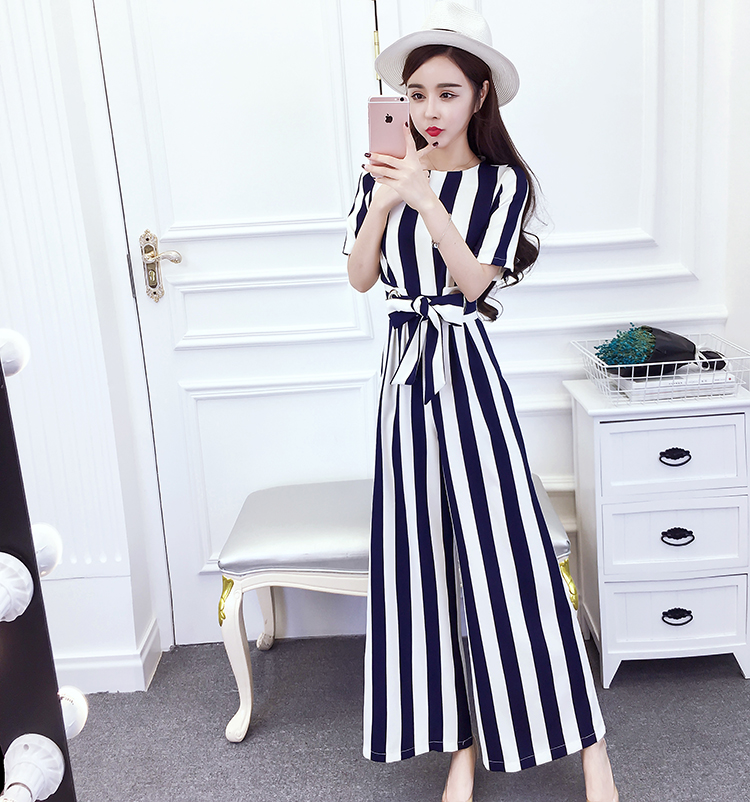 2019 Summer New Design Women Vertical Stripes Print Loose Casual Wide Legged Jumpsuits Woman Jumper Vestido Long Trousers S M L in Jumpsuits from Women 39 s Clothing