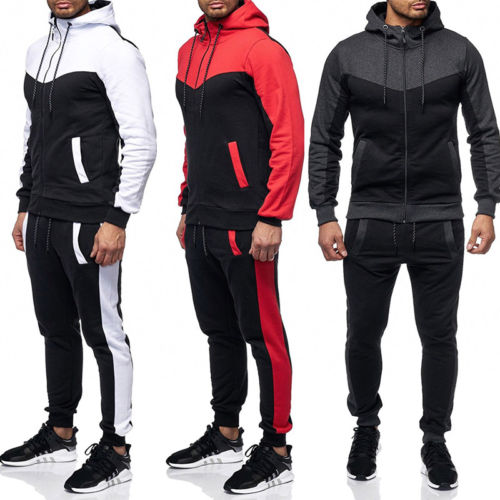 2019 New Mens Casual Slim Fit Hooded Tracksuit Zipper Top  Long Pants Trousers  PLus Size