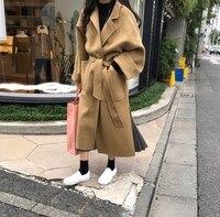2018 Winter Woman Coats Wool Blends Coat Warm Belt Woolen Jacket Outerwear Big Size Long Wool Coat