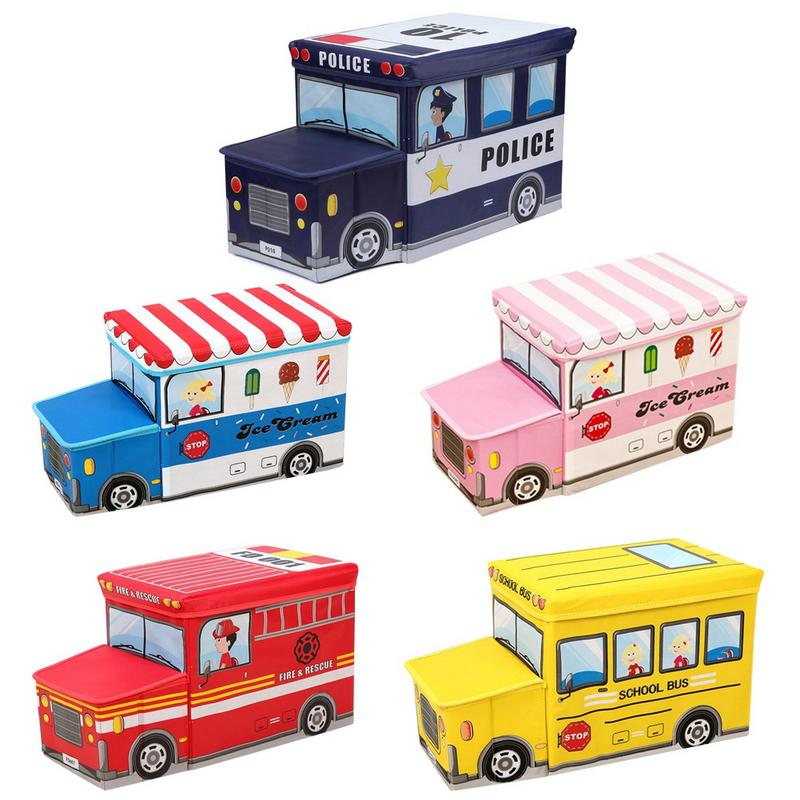 Children Portable Foldable Organizer Cartoon Pattern Toy Car Waterproof Moisture Control Easy To Clean Storage Box Stool