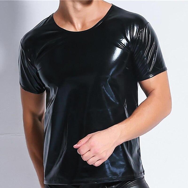 AIIOU Sexy Men Faux Leather Undershirts T-shirt Short Sleeve Male Black Gay PU Underwear Men Club Wear Performance Undershirts