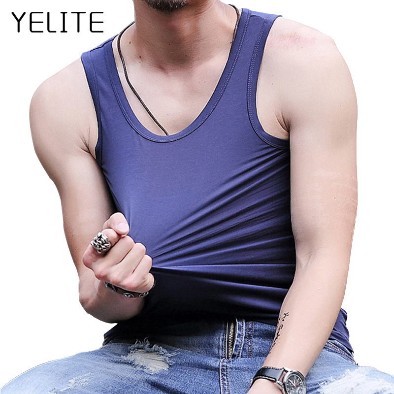 YELITE Summer  Men's Seamless Undershirts Young Men's Solid Thin Vest Comfortable Sleeveless Tank Vest Mens Undershirts