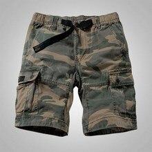 Мужские камуфляжные шорты Карго в стиле милитари, повседневные шорты с несколькими карманами, однотонные свободные шорты, мужские армейские шорты, бермуды, мужские шорты