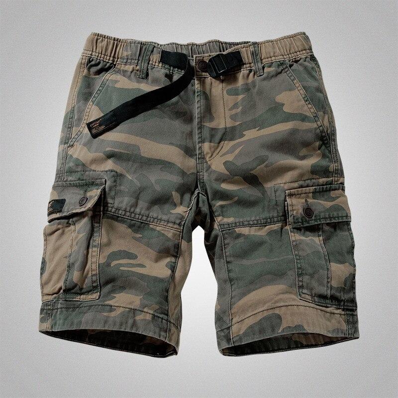 Mens Camouflage Shorts Cargo Military Shorts Casual Multi-Pocket Solid Color Loose Shorts Men Army Short Bermudas Masculina