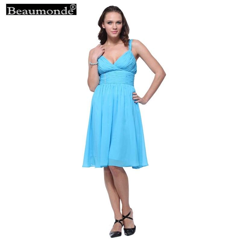 Beaumonde pas cher courte demoiselle d'honneur robes élégant pli a-ligne genou longueur bal célébrité fête robes en mousseline de soie 12 couleurs CO08007