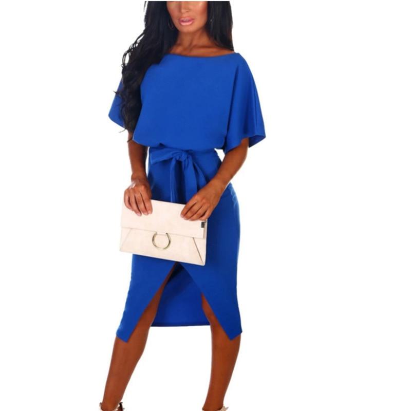 596e96e0ae77 VITIANA Women office work dress female 2019 summer solid black short ...