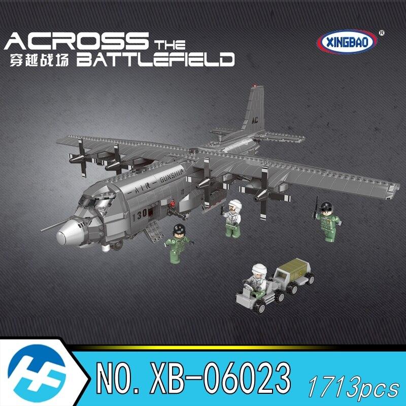 Xingbao XB 06023 Across the Battlefield A130 Gunship fighter plane Military Building Blocks Bricks Compatible legoset