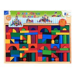 Blocos de construção coloridos de madeira 112 pces 3-6 anos de idade crianças educação precoce quebra-cabeça pai-brinquedo da criança