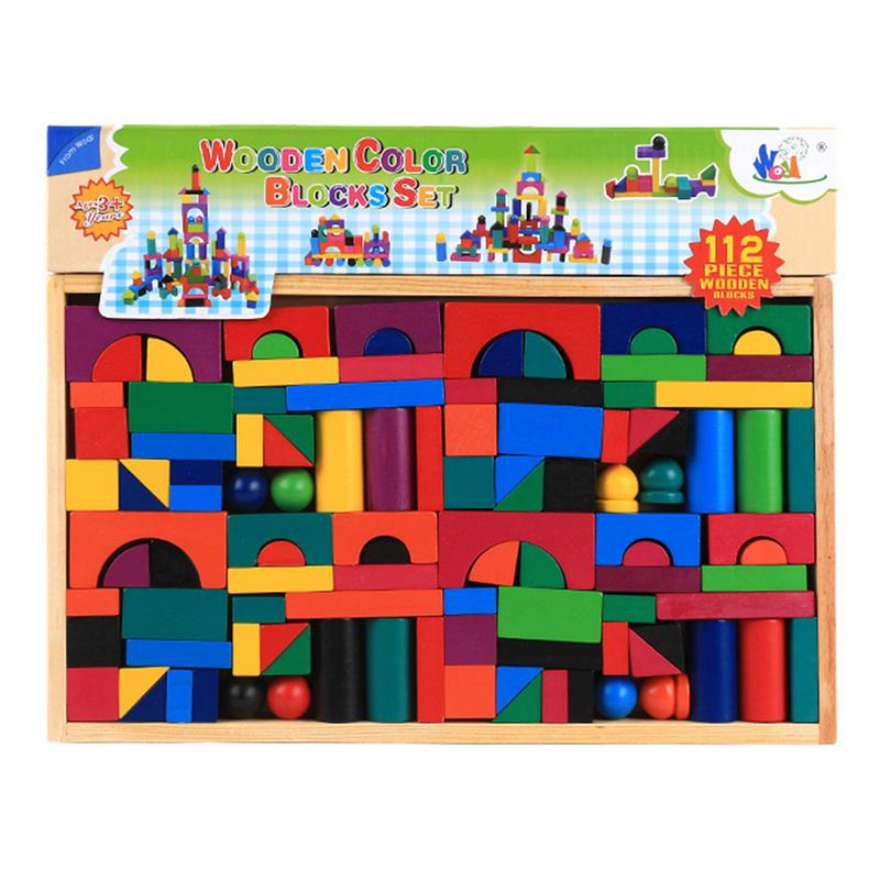 Wooden 112PCS Colorful Building Blocks 3-6 Years Old Aged Children Early Education Puzzle Parent-Child Toy