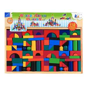 Building-Blocks Puzzle Parent-Child-Toy Wooden Early-Education Colorful Children 112PCS