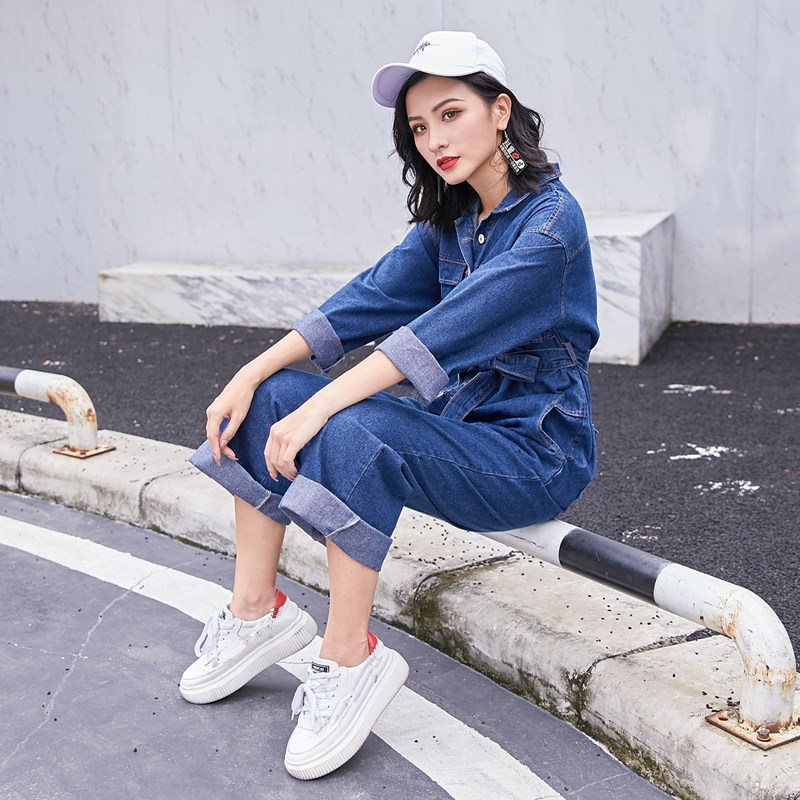 Blue sky With Fashion Autumn Blue Belt Sleeve Overalls Jumpsuits Jeans Long Turn Sashes Women Collar Denim Down wYagZq