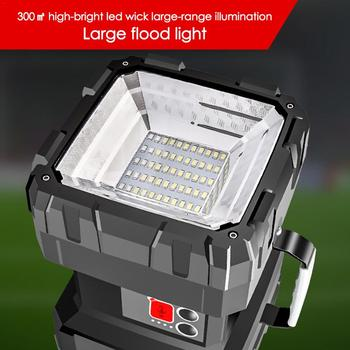 Super Bright Double Head Flashlight Searchlight USB Rechargeable Portable Outdoor Emergency Light Solar Work Light Fishing Light 5