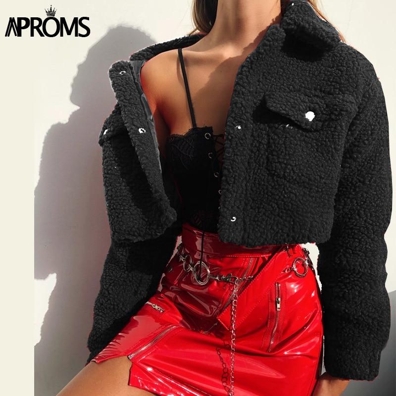 Aproms Fashion Black Pockets Buttons Jackets Women Long Sleeve Slim Crop Top Winter Coats Cool Girls Innrech Market.com