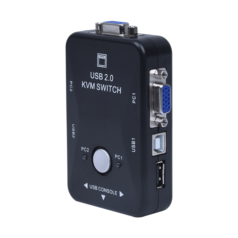 2 Ports VGA KVM Switch Box Adapter USB 2.0 Manual Switcher Monitor 1920x1440 200MHz For Printer Computers PC Laptop