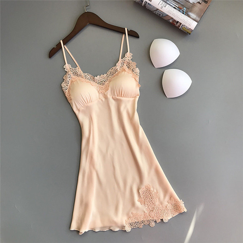 <font><b>Plus</b></font> <font><b>Size</b></font> Night Dress Nightgown <font><b>Sexy</b></font> Nightwear Lace Patchwork <font><b>Camisola</b></font> <font><b>Lingerie</b></font> Night Silk Dress Sleep Wear Nightdress Clothes image