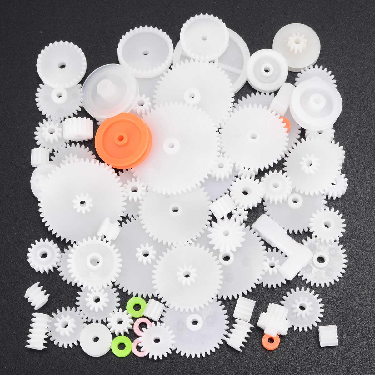 64 סגנונות פלסטיק פיר אחת שכבה כפולה כתר תולעת הילוכים בורג גלגלי M0.5 עבור צעצועי רובוט DIY ערכת מבחר