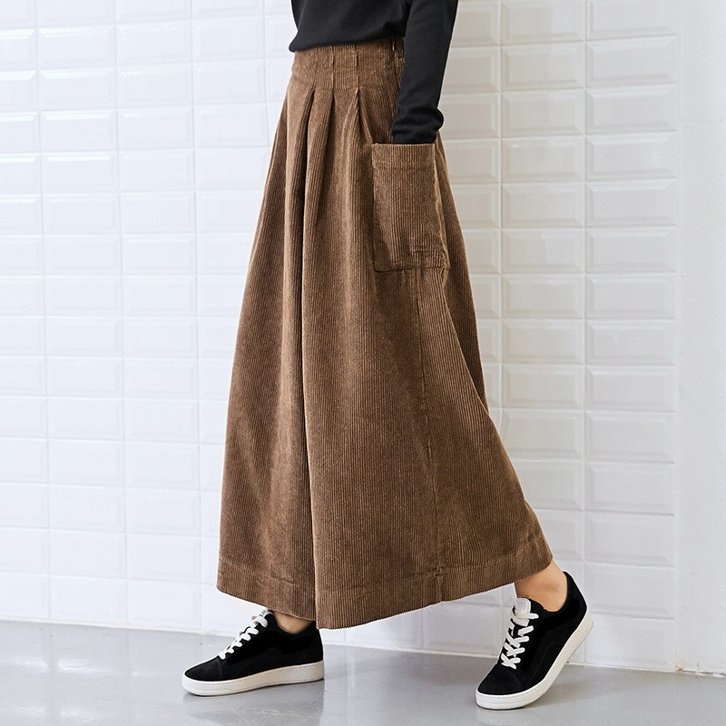 Winter Loose Solid Color Corduroy Ankle-Length   Pants   Pockets Women Vintage Asymmetry High Waist   Wide     Leg     Pants