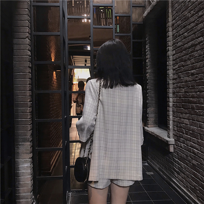 2019 New Suit Fashion Lapel Plaid Suit Jacket + High Waist Shorts Suit