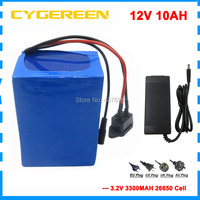 Frete grátis 12v 10ah lifepo4 bateria 150 w 12v 10000 mah bateria 12v lfp ebike ups bateria com 15a bms 14.6 v 3a carregador