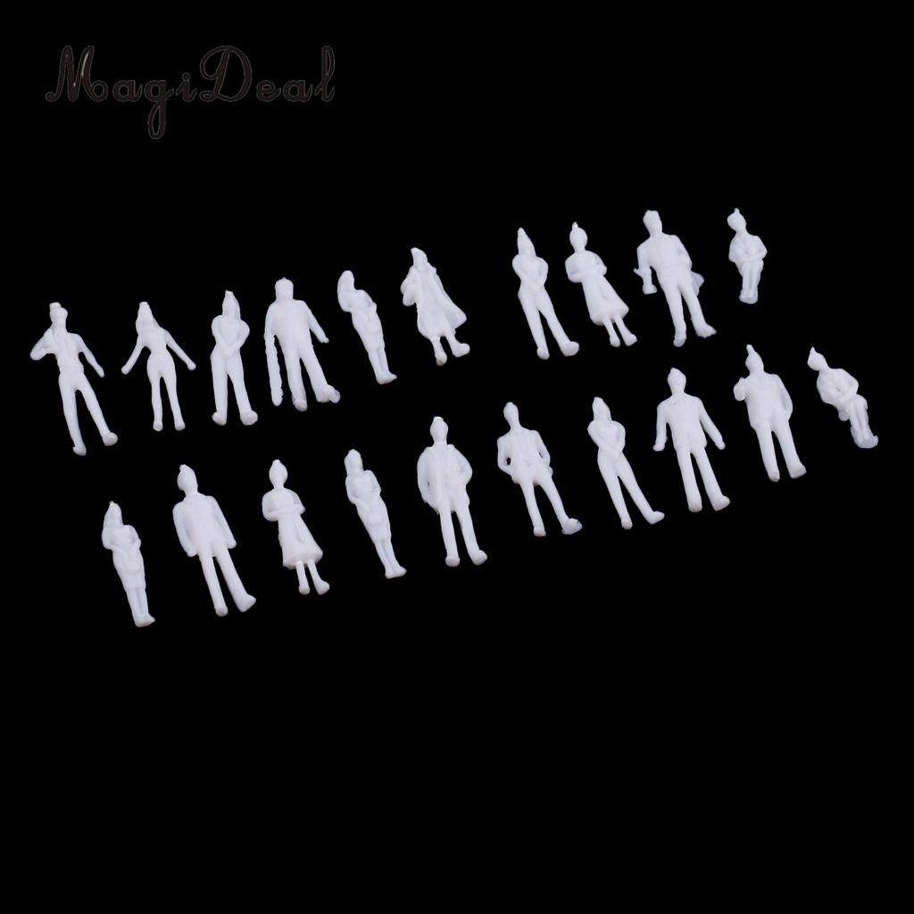 MagiDeal 20Pcs 1/100 HO Scale Unpainted Model People Architectural Figure Miniature for Model Building Layout Children Kids Toys image