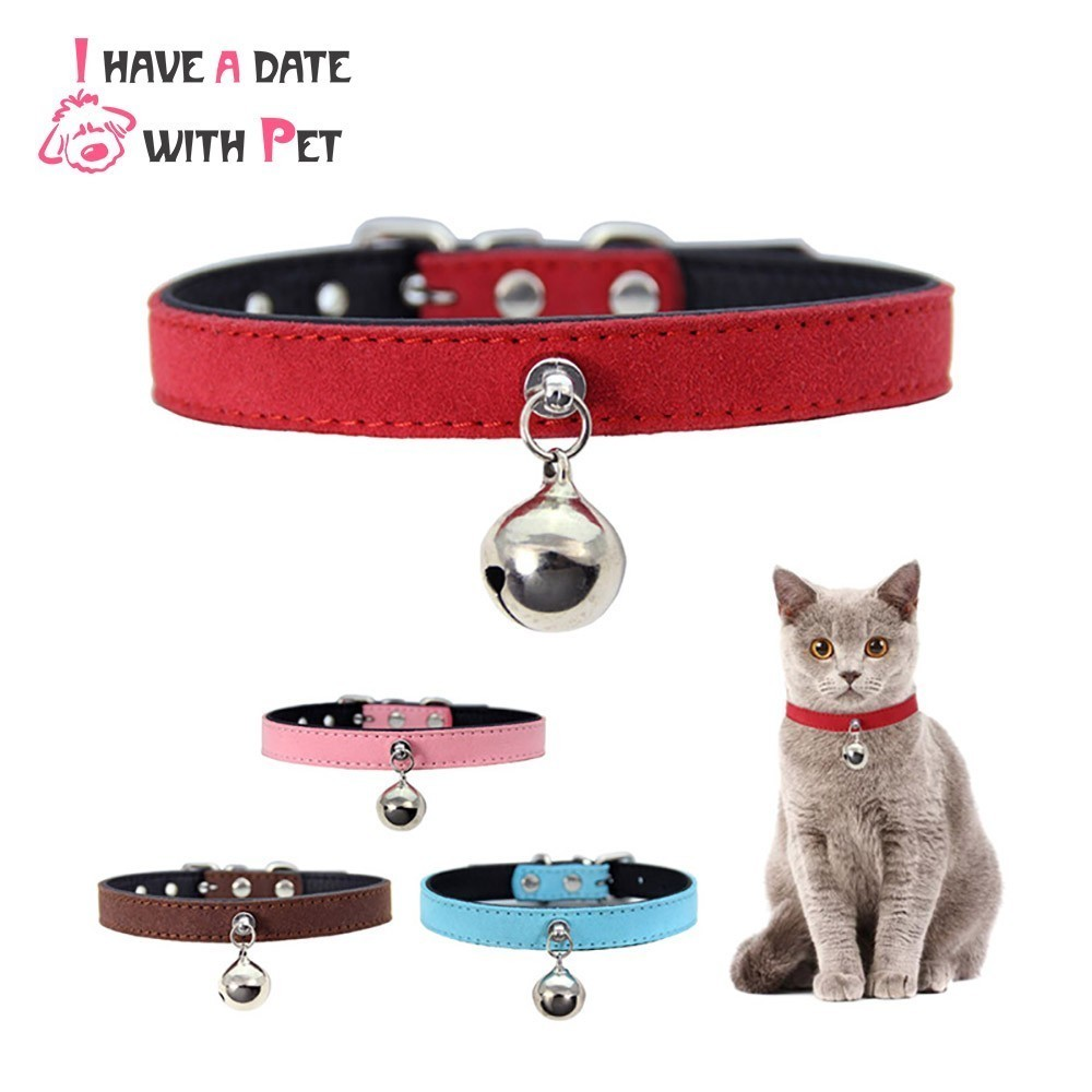 bf38fb5355a3 Cat Supplies Collars & Tags Leather Cat Collar Personalized Kitten Collars  with Bell Pink Red Blue Purple
