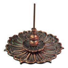 Lotus Incense Burner Holder for Sticks Cones Coils Incense, Vintage Style, Copper Color Bronze