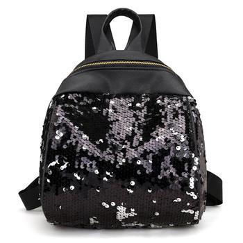 ccd4e795bf95f PinShang Kadın sırt çantası Moda Pullu Sırt Çantası Bayanlar PU deri omuz  çantaları ZK30