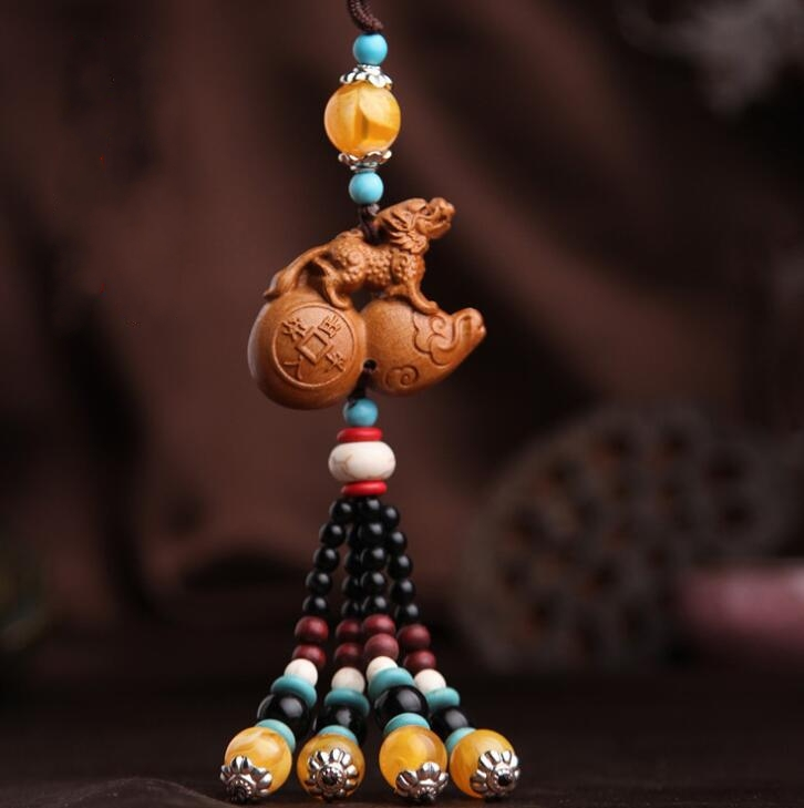 Chinese Peach Wood Carved Animal Brave Troops Gourd Cucurbit  Exquisite Car Key Pendant Bag Pendant Statues & Sculptures     - title=