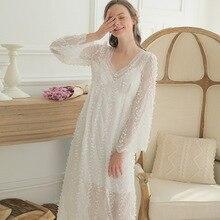 95c3f46ee0 2018 Court Women Sleep Dress Long Sleeve Lace Nightshirts Two Piece Set Sexy  Princess Nightdress Home