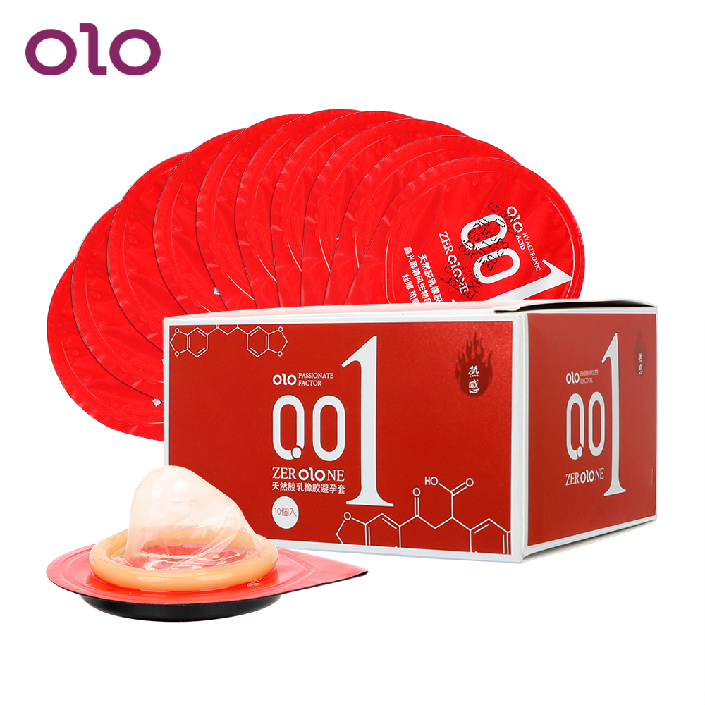 OLO 10 Pieces/Pack Condoms Super Sensitivity Smooth Natural Latex Penis Cock Sleeve Ultra Thin Hyaluronic Acids Sex Toys for Men
