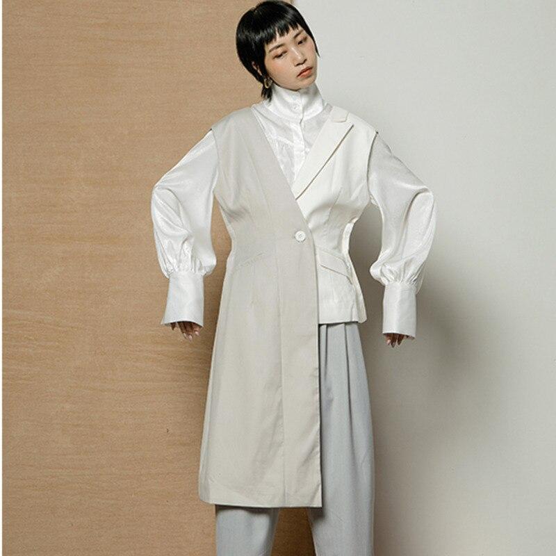 Contraste Femmes Printemps Veste Nouveau Wd45701m Deat Taille Manches Asymétrique Et Mode Gilet V D'été Couleurs De 2019 Splice Haute Grey black Col 8qTqUxw