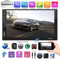 2Din 7Inch Touch Screen Android 7.1 Car Stereo MP5 Player Multimidia Bluetooth Wifi GPS Navigator FM AM Radio with Map+Camera